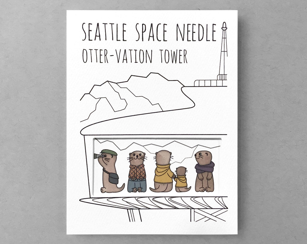 Seattle card Space Needle otters