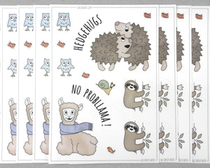 hedgehog llama and sloth sticker sheet