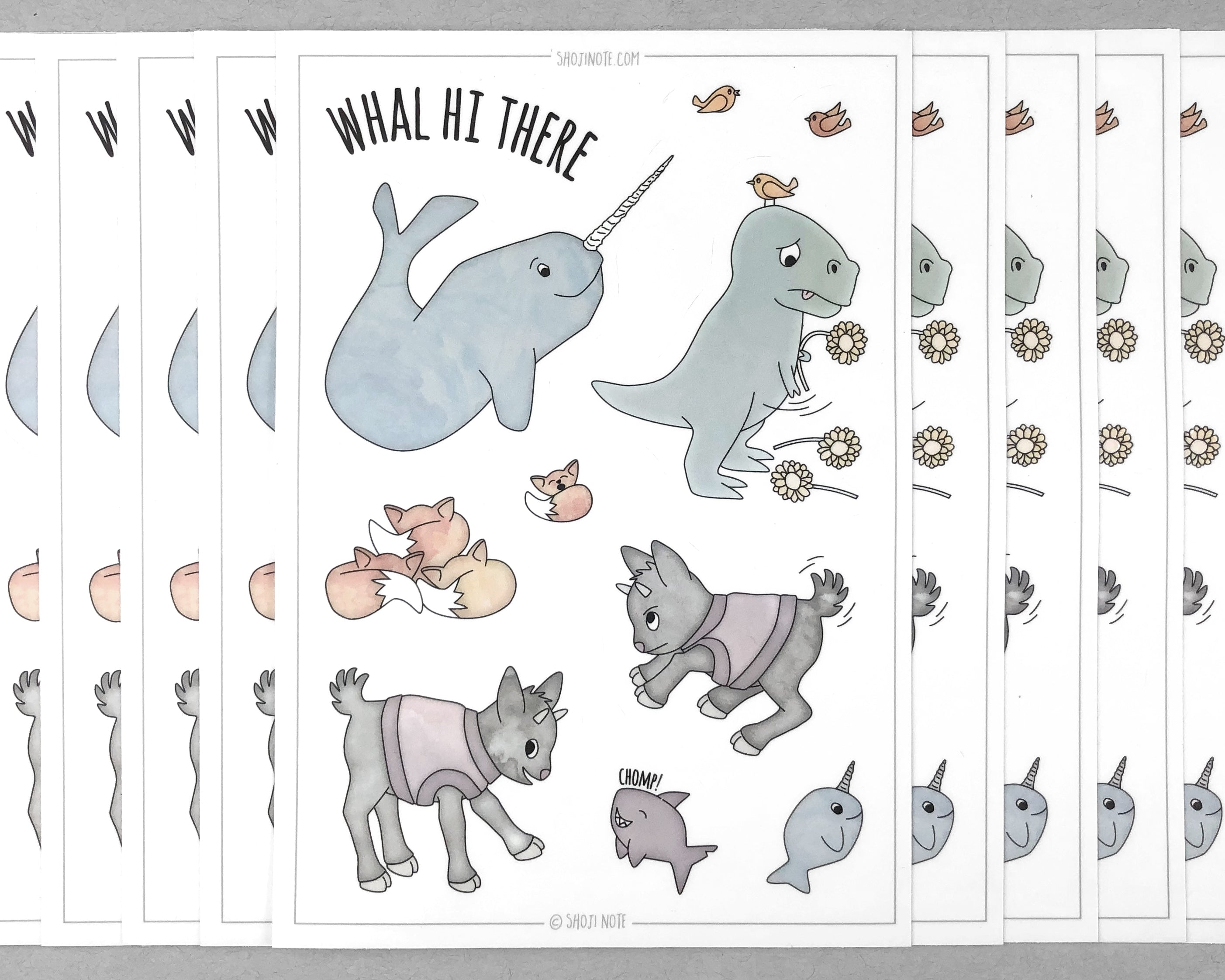 narwhal llama and t-rex sticker sheet