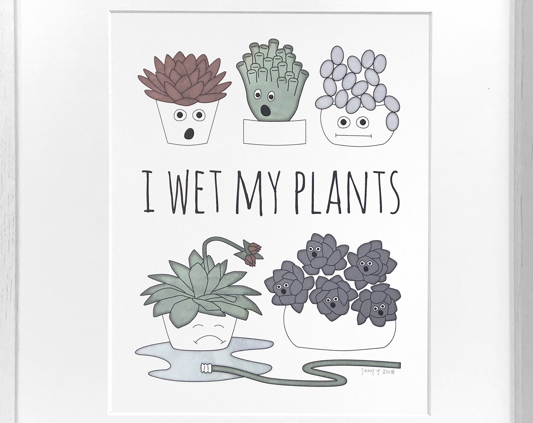 succulent art print [I wet my plants]