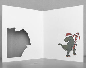 t-rex holiday card