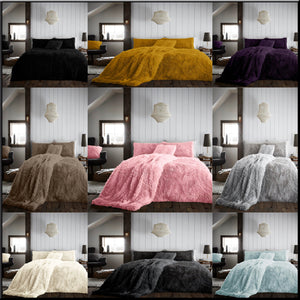 New HUG & SNUG Teddy Fleece Duvet Quilt Cover Pillowcases Set Luxury Soft Warm