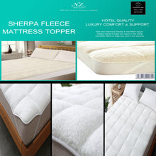 Load image into Gallery viewer, Sheepskin Sherpa Fleece Mattress Topper