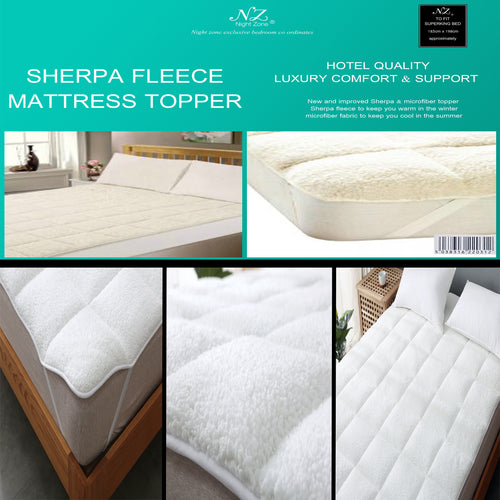 Sheepskin Sherpa Fleece Mattress Topper