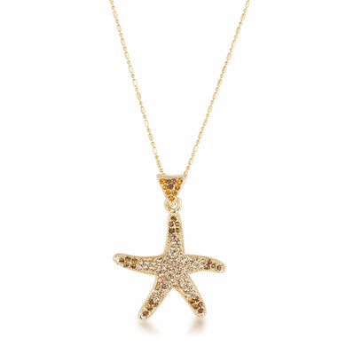 18k Gold Plated Golden Ombre Crystal Starfish Pendant