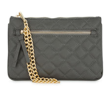 Load image into Gallery viewer, Alexis Grey Quilted Faux Leather Clutch With Gold Chain Wristlet