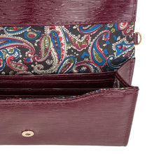 Load image into Gallery viewer, Laney Burgundy Textured Faux Leather Clutch With Gold Chain Strap