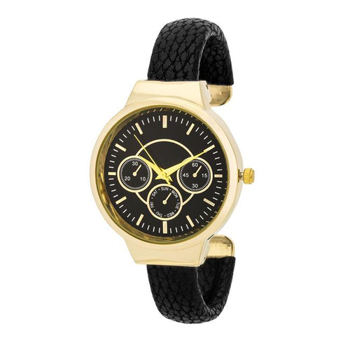 Reyna Gold Black Leather Cuff Watch