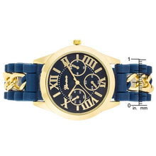 Load image into Gallery viewer, Gold Watch With Navy Blue Rubber Strap