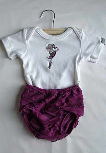 Bright Purple Ballerina Bloomer Baby grow Set