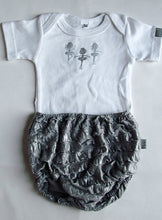 Load image into Gallery viewer, Grey Bloomer Ballerina Baby Grow set