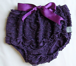 Bright purple bloomer with bow