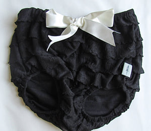 Black bloomer with white bow