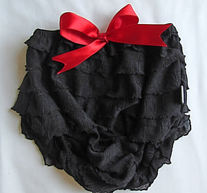Black bloomer with red bow