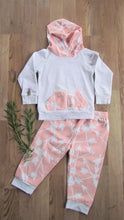 Load image into Gallery viewer, Baby Hoodie Set: Coral and White