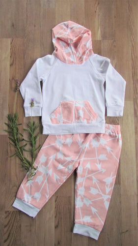 Baby Hoodie Set: Coral and White