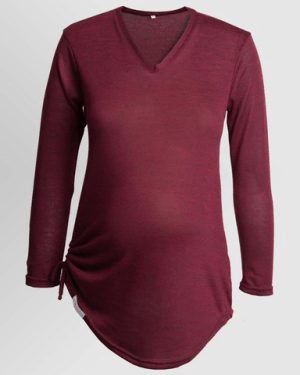 Maternity V-Neck Knit Preggy Top With Tie Detail - Various Colours