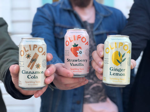 Olipop Soda Tonic Cola Ginger Lemon Vanilla Strawberry