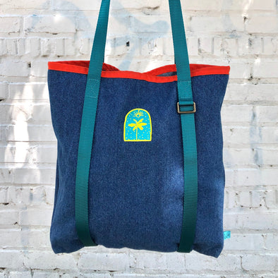 J. Stark X Sightsee Shopper Tote: Teal + Orange