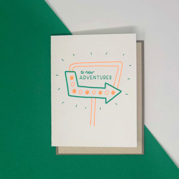 """To New Adventures"" card"