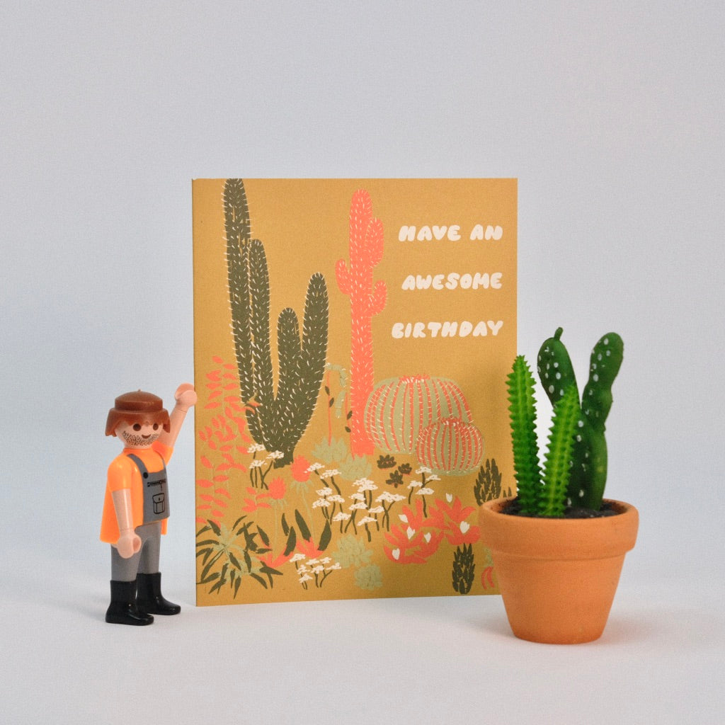 Happy Birthday Awesome Cacti Card