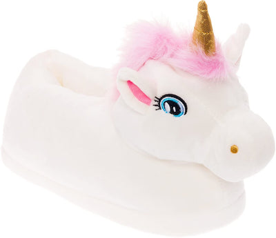 Silver Lilly Unicorn Plush Slippers - Novelty Animal Slippers w/Foam Support - World of Crazy