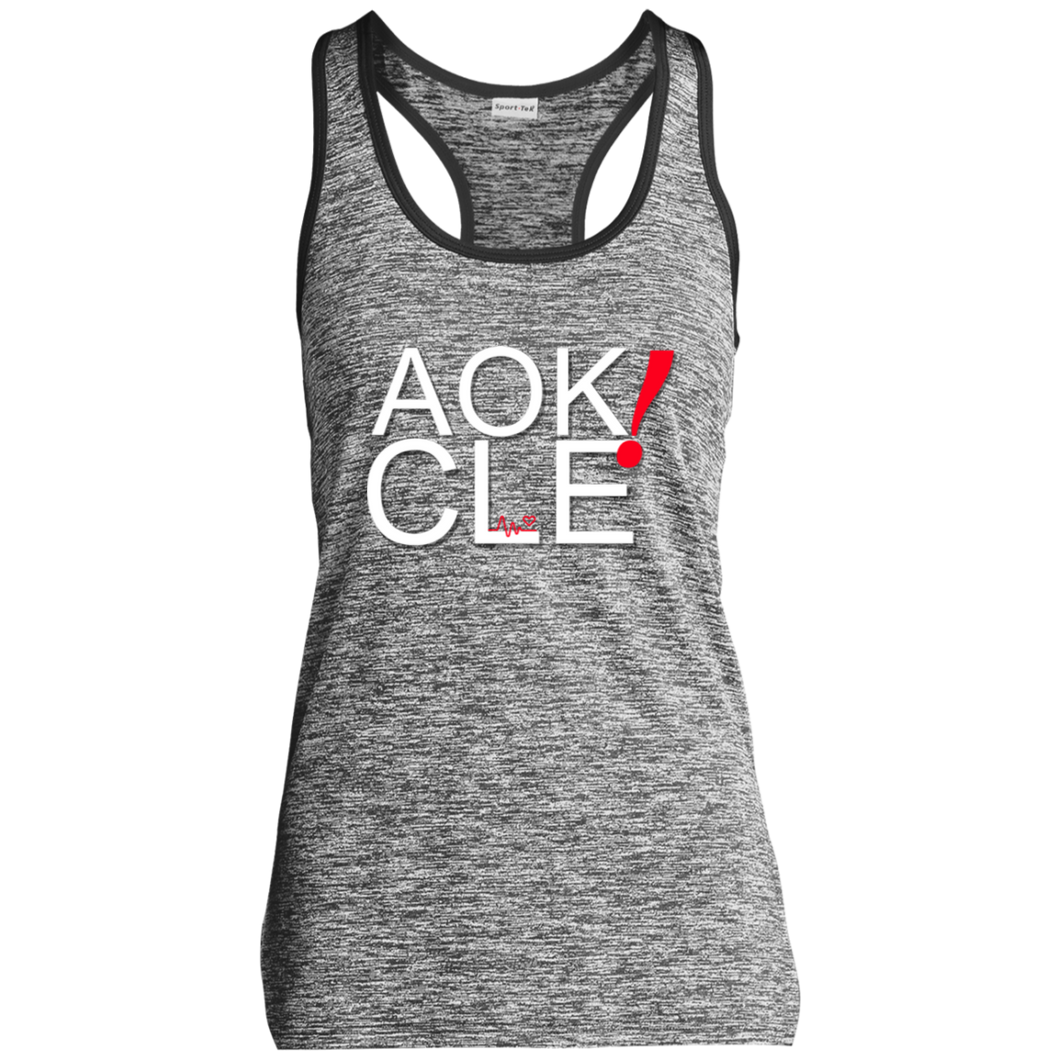 AOK! CLE  Ladies' Moisture Wicking Electric Heather Racerback Tank