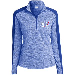 AOK! CLE Ladies' Electric Heather Colorblock 1/4-Zip Pullover