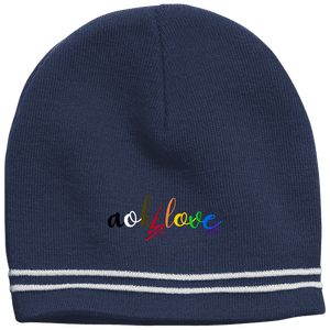 aok2loveall simple striped beanie