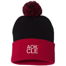 Load image into Gallery viewer, AOK! CLE Pom Pom Knit Cap