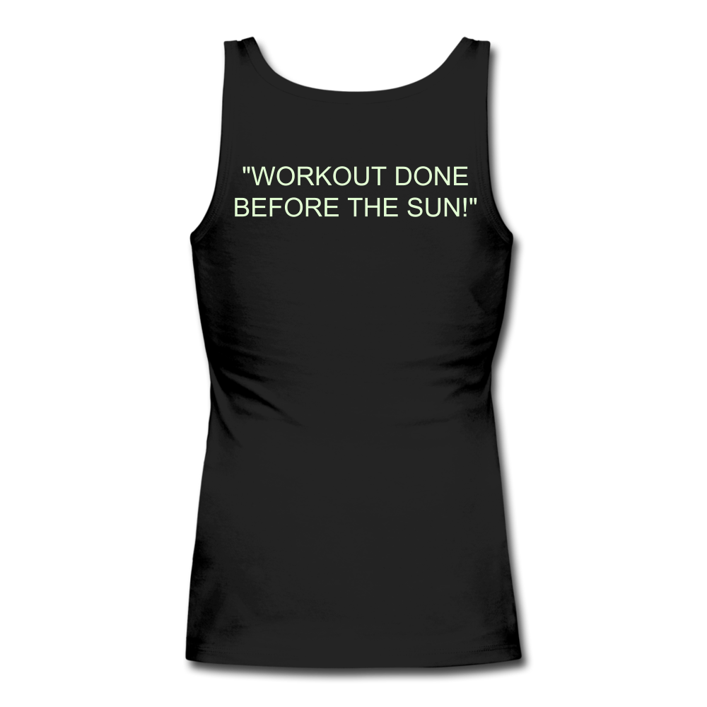 Women's Longer Length Fitted Tank - black