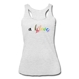 AOK! Love Women's Tri-Blend Racerback Tank - heather white