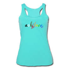 Load image into Gallery viewer, AOK! Love Women's Tri-Blend Racerback Tank - turquoise