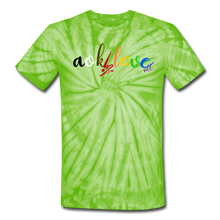 Load image into Gallery viewer, AOK! Love Unisex Tie Dye T-Shirt - spider lime green