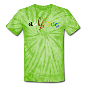 AOK! Love Unisex Tie Dye T-Shirt - spider lime green