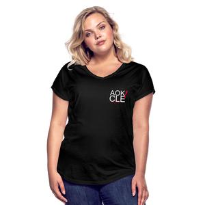 Exercise is FUN! Women's Tri-Blend V-Neck T-Shirt - black