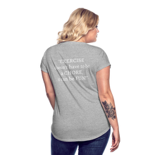 Load image into Gallery viewer, Exercise is FUN! Women's Tri-Blend V-Neck T-Shirt - heather gray