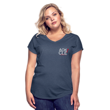 Load image into Gallery viewer, Exercise is FUN! Women's Tri-Blend V-Neck T-Shirt - navy heather