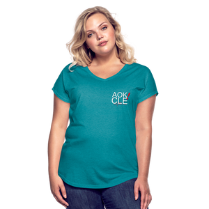 Exercise is FUN! Women's Tri-Blend V-Neck T-Shirt - heather turquoise