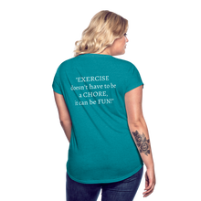 Load image into Gallery viewer, Exercise is FUN! Women's Tri-Blend V-Neck T-Shirt - heather turquoise