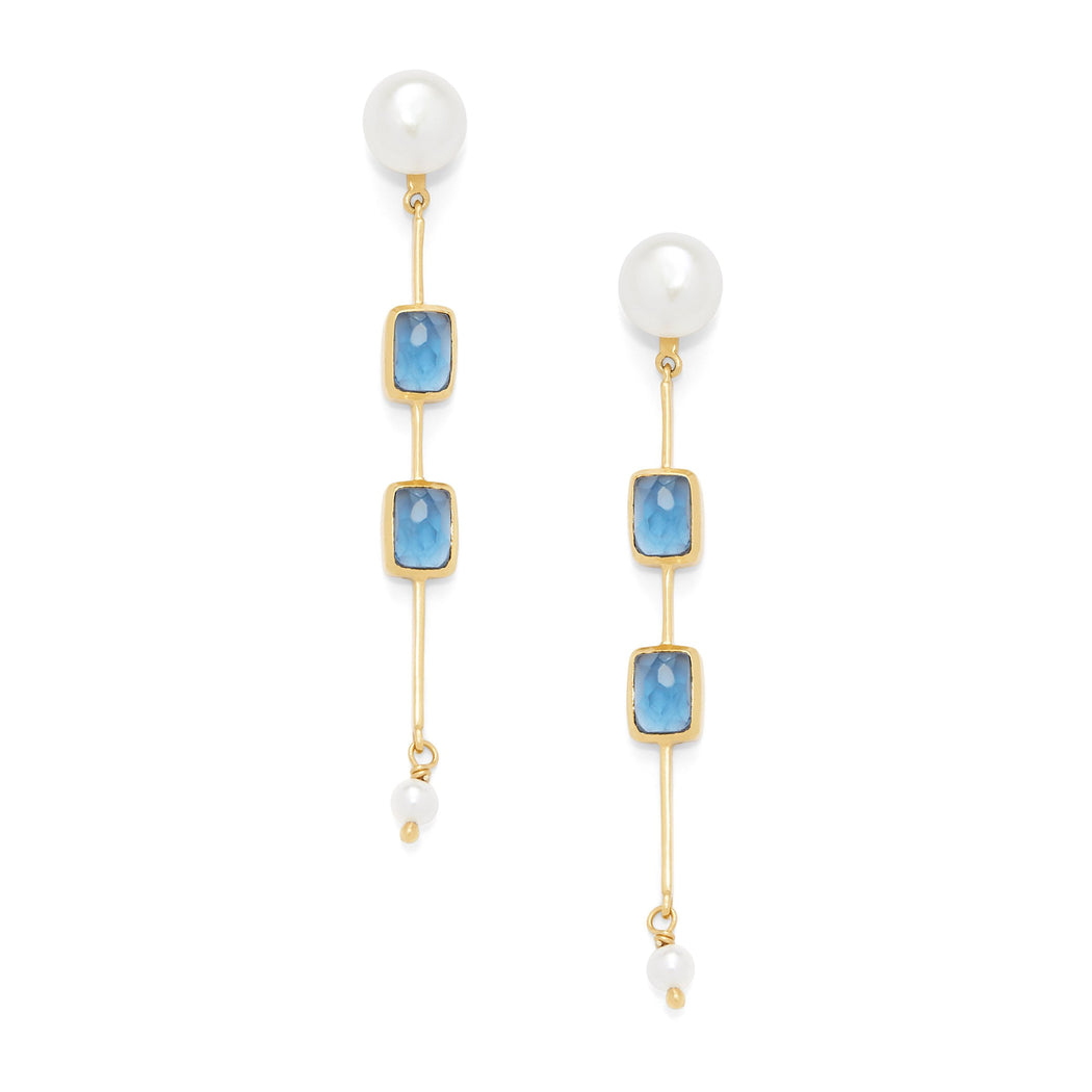 Julie Vos Clara Double Stone Earring - Pearl & Sapphire Blue