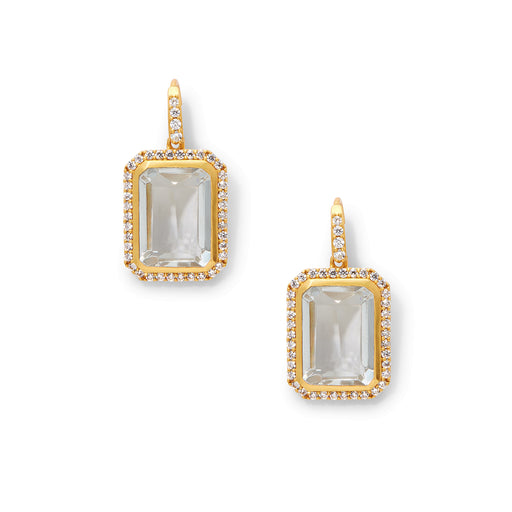 Julie Vos Clara Luxe Earring Gold Clear Crystal