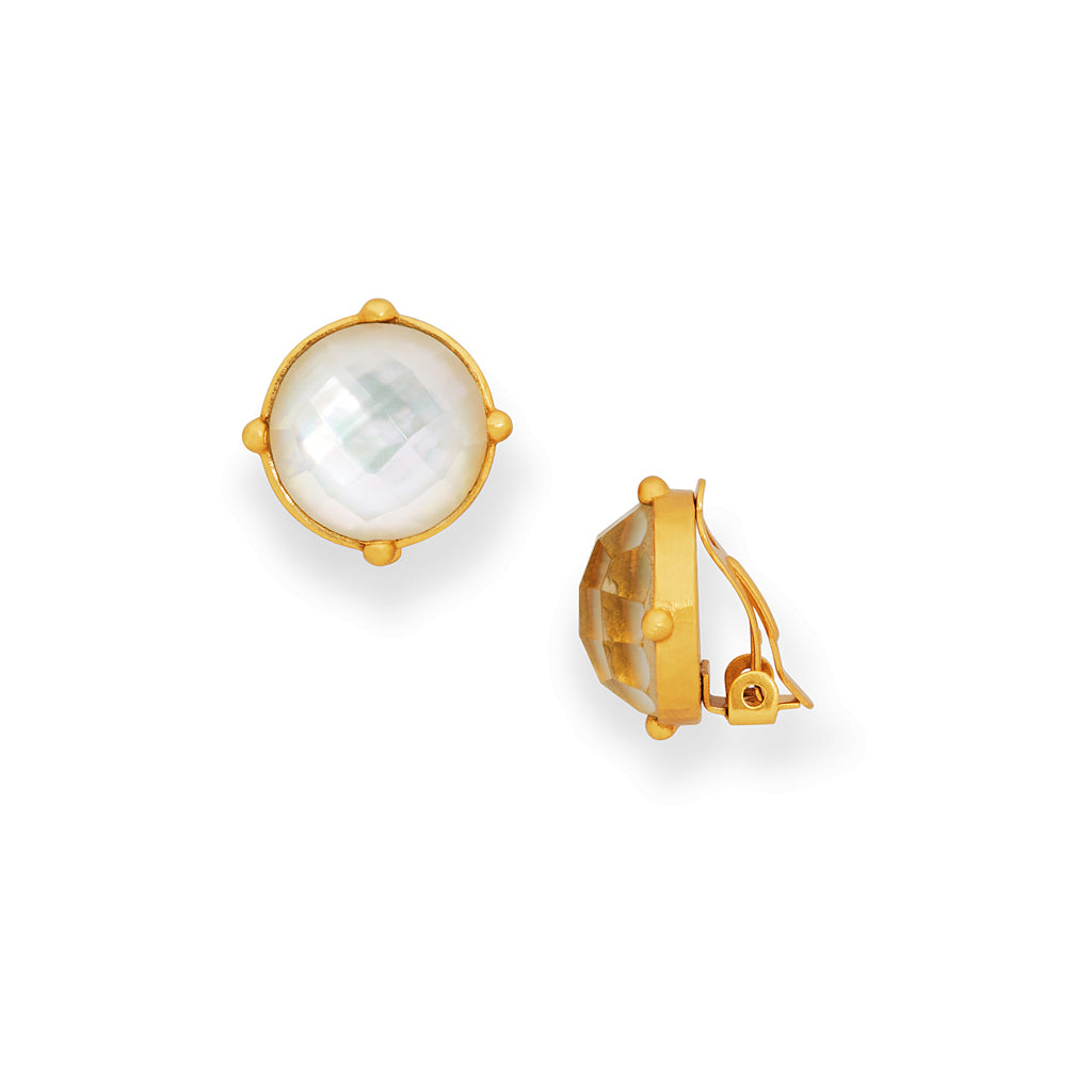 Julie Vos Honey Clip-Ons - Iridescent Clear Crystal