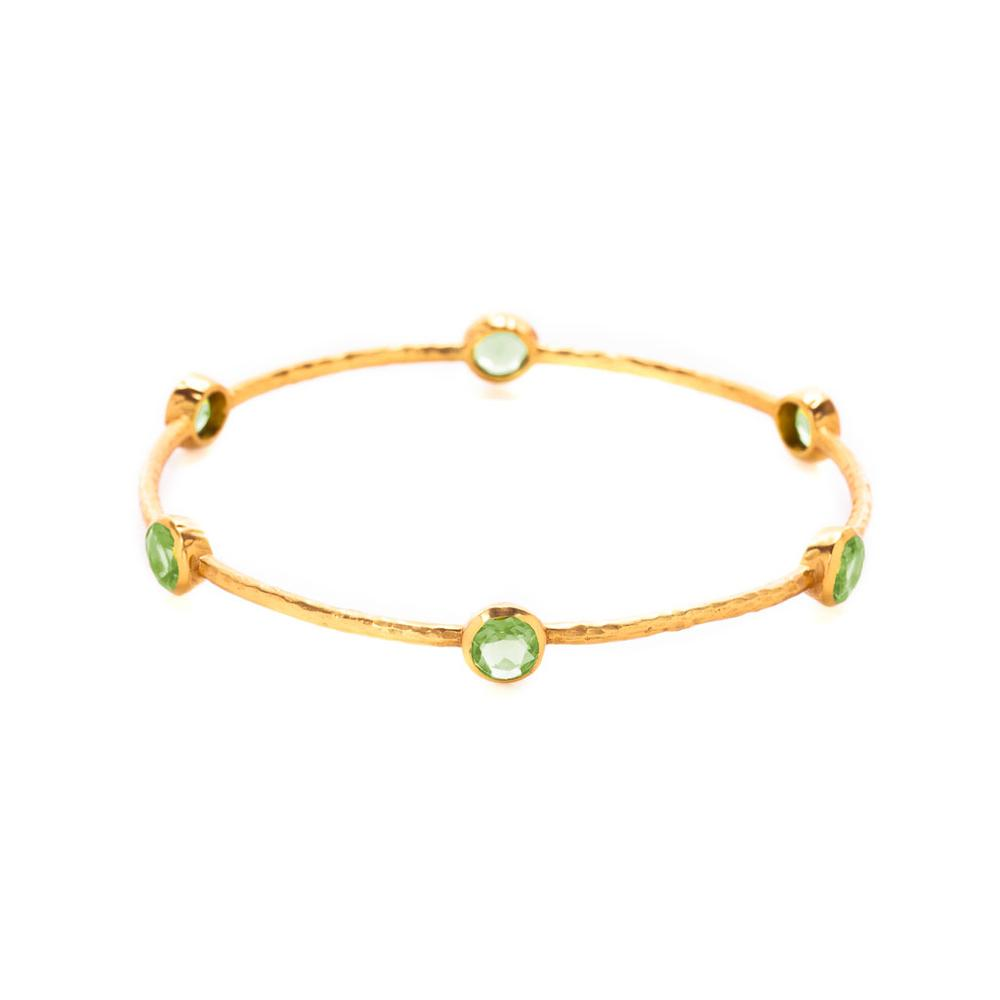 Julie Vos Milano 6 Stone Bangle - Peridot Green