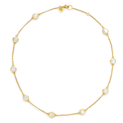 Julie Vos Valencia Delicate Station Necklace -Mother of Pearl