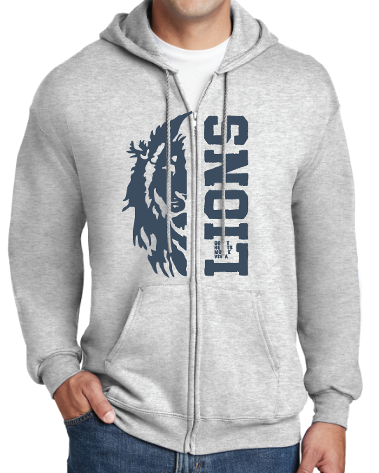 Gray Zip Hoodie with Lion