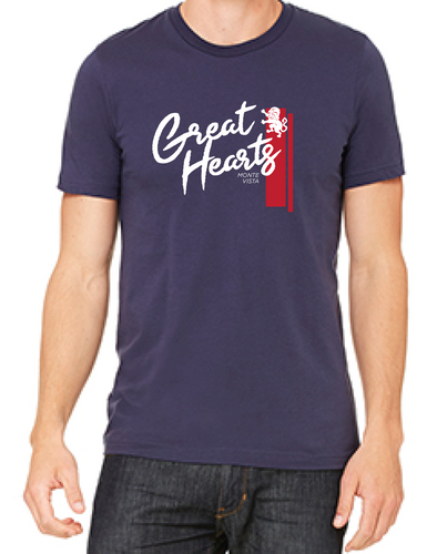 Navy T-Shirt with Red Stripe