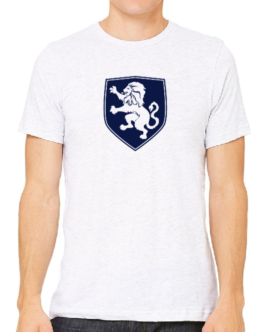 White T-Shirt with Navy Crest