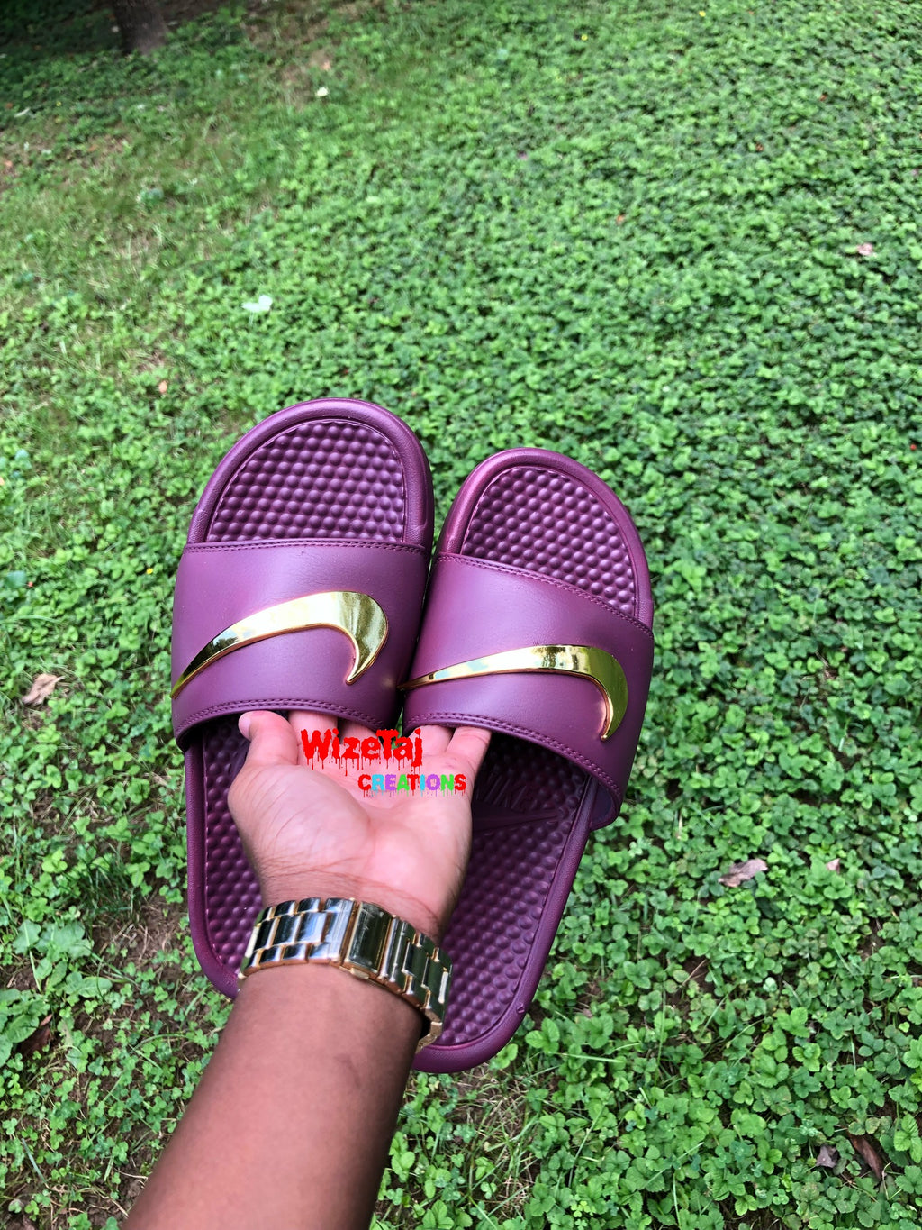 c8531a5ba Nike Benassi Royal Golden Check Slides Custom Nike Slides in
