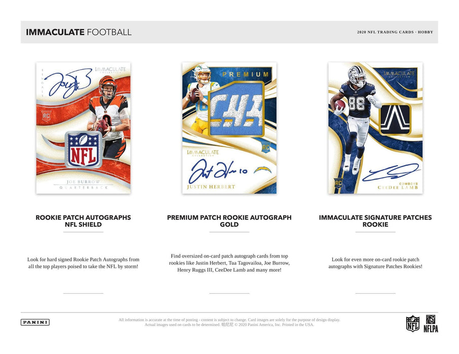 2020 Panini Immaculate Football Hobby Box